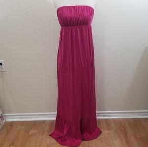 Vintage 100% silk, pink strapless maxi dress